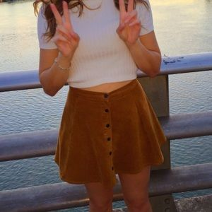 Tan/brown Corduroy skirt with buttons!